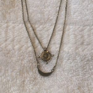 Lucky Brand Silver Double Strand Necklace